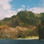 ハワイの地形と海(IZが散骨された海)の写真