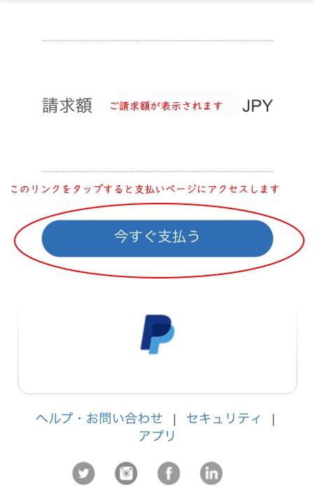 PayPal支払請求「今すぐ支払う」ボタンの画像